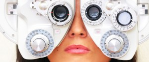 Uplclose image of woman taking eye test
