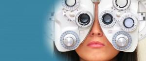 Woman taking an eye test